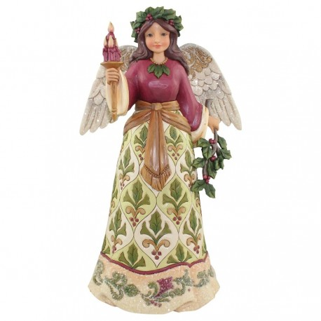 Victorian Angel with Candle Stone Figurine
