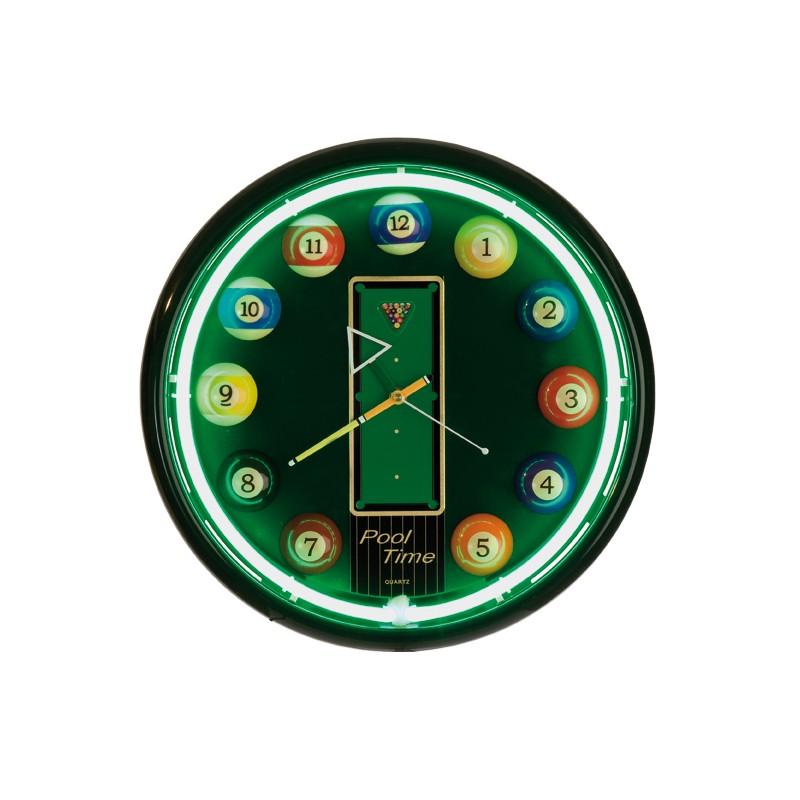 horloge murale 39 pool 39 n on vert tendance billard. Black Bedroom Furniture Sets. Home Design Ideas